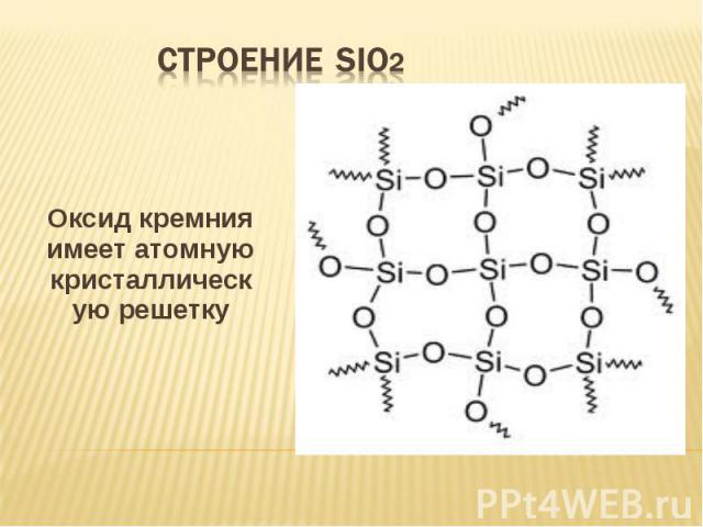 Оксид кремния имеет атомную кристаллическую решетку