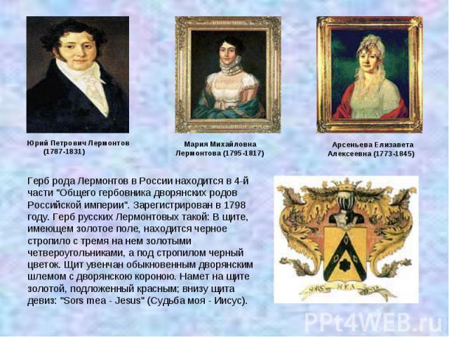 Герб рода Лермонтов в России находится в 4-й части