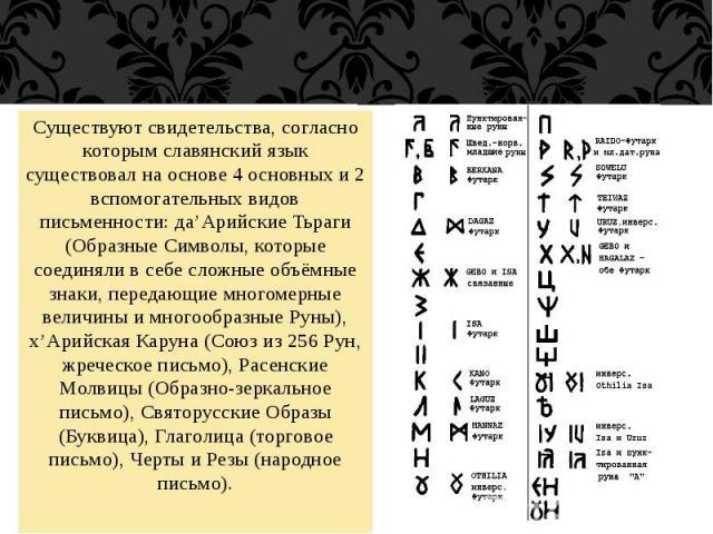 Существуют свидетельства, согласно которым славянский язык существовал на основе 4 основных и 2 вспомогательных видов письменности: да'Арийские Тьраги (Образные Символы, которые соединяли в себе сложные объёмные знаки, передающие многомерные величин…