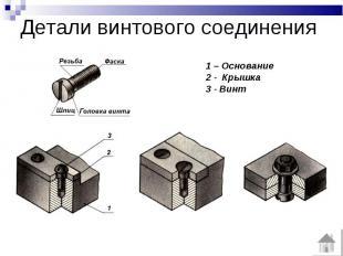 Детали винтового соединения 1 – Основание2 - Крышка3 - Винт