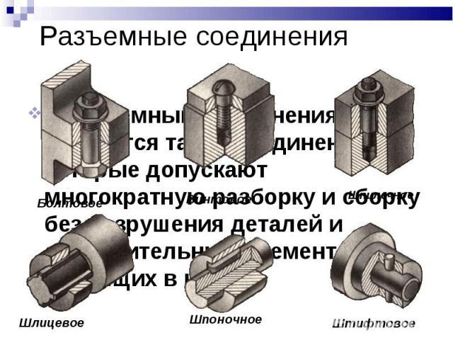 Разъемные соединения К разъемным соединениям относятся такие соединения, которые допускают многократную разборку и сборку без разрушения деталей и соединительных элементов, входящих в них.
