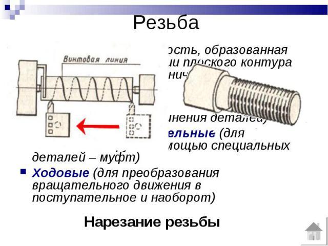 РезьбаРезьба – это поверхность, образованная при винтовом движении плоского контура по цилиндрической (конической) поверхности.Различают резьбы :Крепежные (для соединения деталей)Крепежно-уплотнительные (для соединений труб с помощью специальных дет…