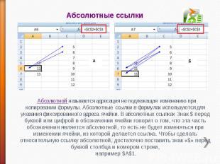 Абсолютные ссылки Абсолютной называется адресация не подлежащая изменению при ко