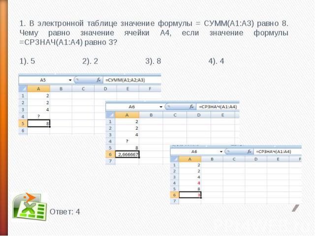 1. В электронной таблице значение формулы = СУММ(А1:А3) равно 8. Чему равно значение ячейки А4, если значение формулы =СРЗНАЧ(А1:А4) равно 3?1). 5 2). 2 3). 8 4). 4