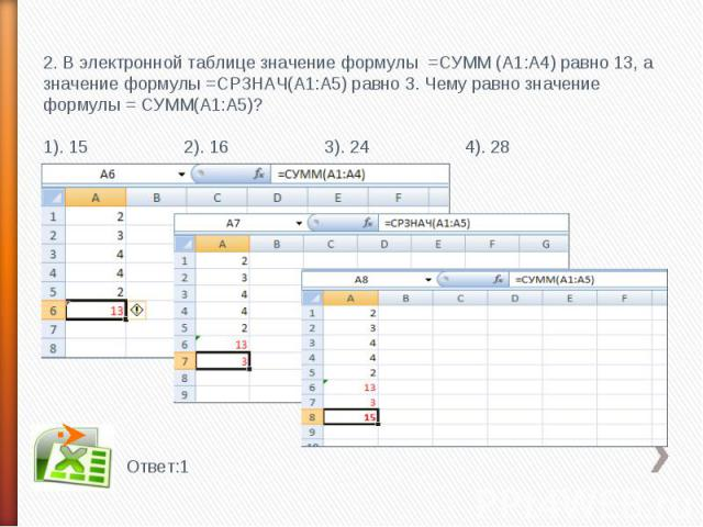 2. В электронной таблице значение формулы =СУММ (А1:А4) равно 13, а значение формулы =СРЗНАЧ(А1:А5) равно 3. Чему равно значение формулы = СУММ(А1:А5)?1). 152). 16 3). 24 4). 28