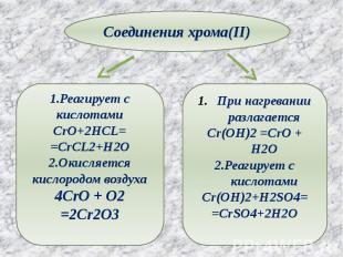 Соединения хрома(II) 1.Реагирует с кислотамиCrO+2HCL==CrCL2+H2O2.Окисляется кисл