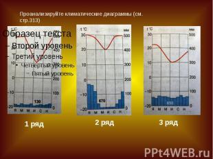Проанализируйте климатические диаграммы (см. стр.313)