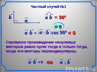 Частный случай №1 Скалярное произведение ненулевых векторов равно нулю тогда и т