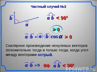 Частный случай №2 Скалярное произведение ненулевых векторов положительно тогда и