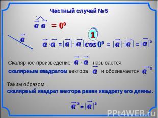 Частный случай №5 Скалярное произведение называется скалярным квадратом вектора