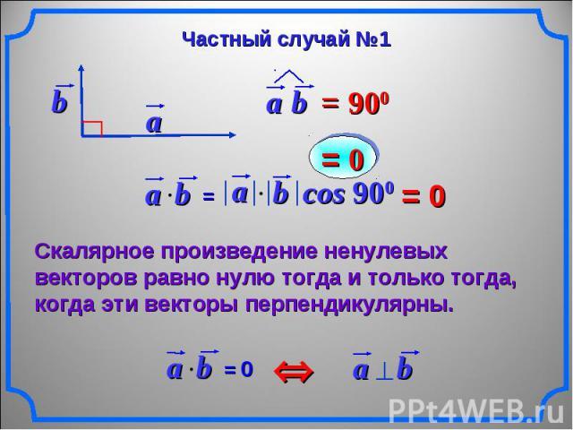 Частный случай №1 Скалярное произведение ненулевых векторов равно нулю тогда и только тогда, когда эти векторы перпендикулярны.