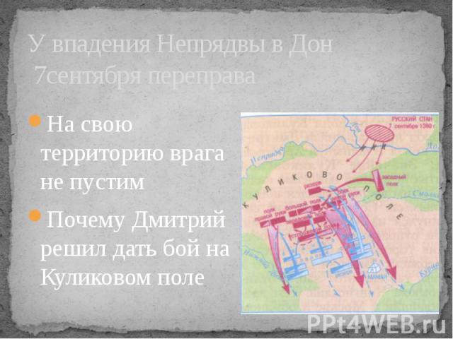 У впадения Непрядвы в Дон 7сентября переправаНа свою территорию врага не пустимПочему Дмитрий решил дать бой на Куликовом поле