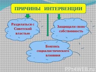 ПРИЧИНЫ ИНТЕРВЕНЦИИ Разделаться с Советской властью Защищали свою собственность