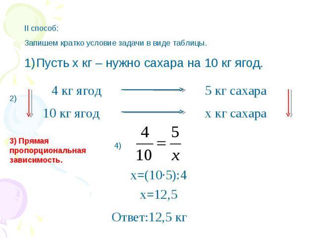 II способ:Запишем кратко условие задачи в виде таблицы.Пусть х кг – нужно сахара на 10 кг ягод. 3) Прямая пропорциональная зависимость. x=(10∙5):4 Ответ:12,5 кг