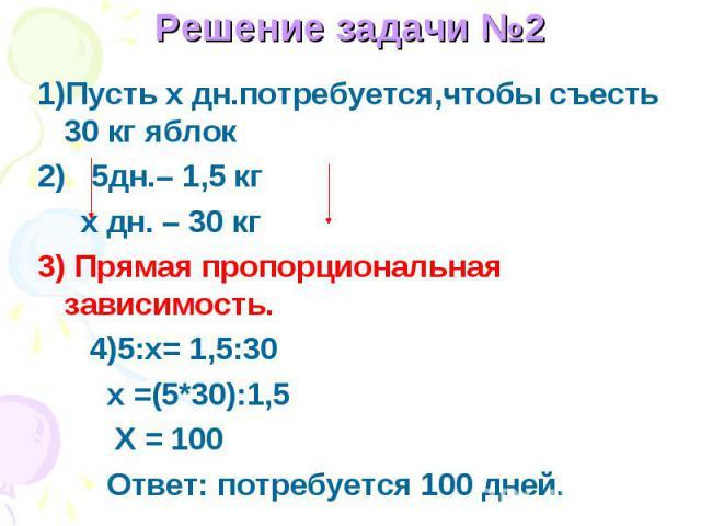 1)Пусть x дн.потребуется,чтобы съесть 30 кг яблок2) 5дн.– 1,5 кг х дн. – 30 кг3) Прямая пропорциональная зависимость. 4)5:х= 1,5:30 x =(5*30):1,5 Х = 100 Ответ: потребуется 100 дней.