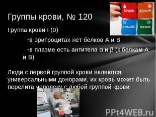 Группы крови, № 120 Группа крови I (0)в эритроцитах нет белков А и Вв плазме ест