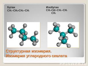 БутанСН3–СН2-СН2–СН3 ИзобутанСН2-СН–СН2–СН3 СН3 Структурная изомерия.Изомерия уг
