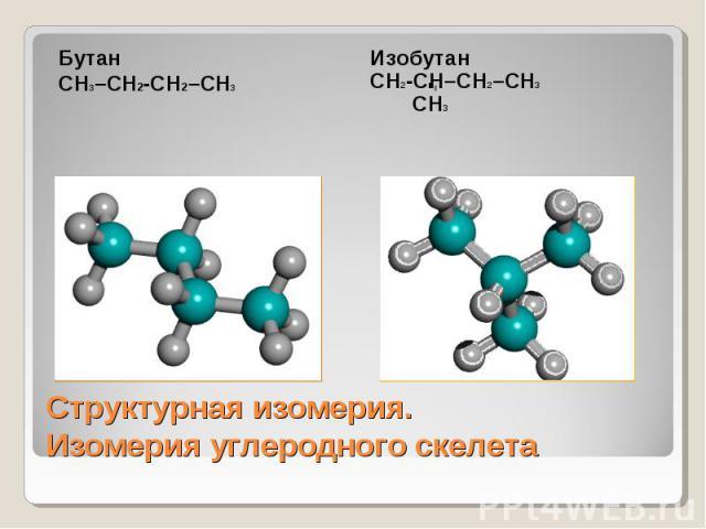 БутанСН3–СН2-СН2–СН3 ИзобутанСН2-СН–СН2–СН3 СН3 Структурная изомерия.Изомерия углеродного скелета