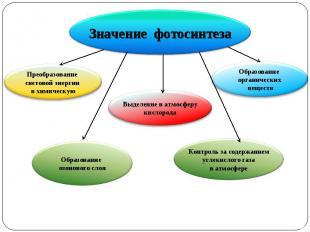 Значение фотосинтеза Преобразование световой энергии в химическую Образование оз