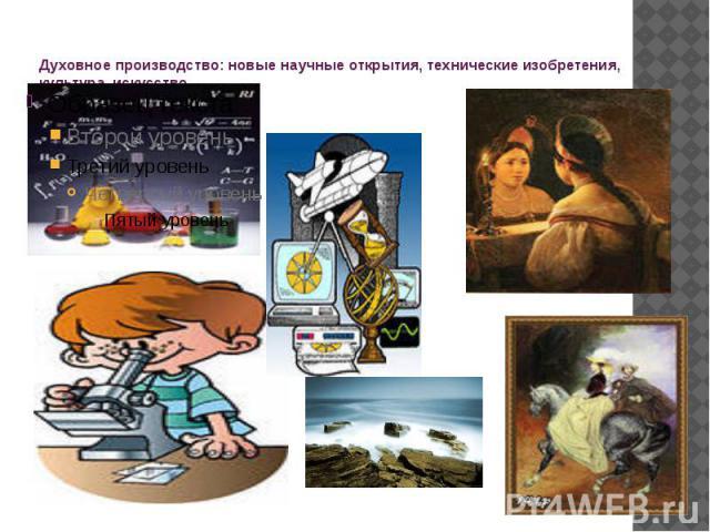 Духовное производство: новые научные открытия, технические изобретения, культура, искусство