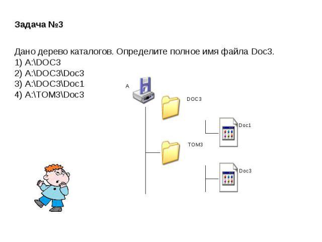 Задача №3Дано дерево каталогов. Определите полное имя файла Doc3.1) A:\DOC32) A:\DOC3\Doc33) A:\DOC3\Doc14) A:\TOM3\Doc3