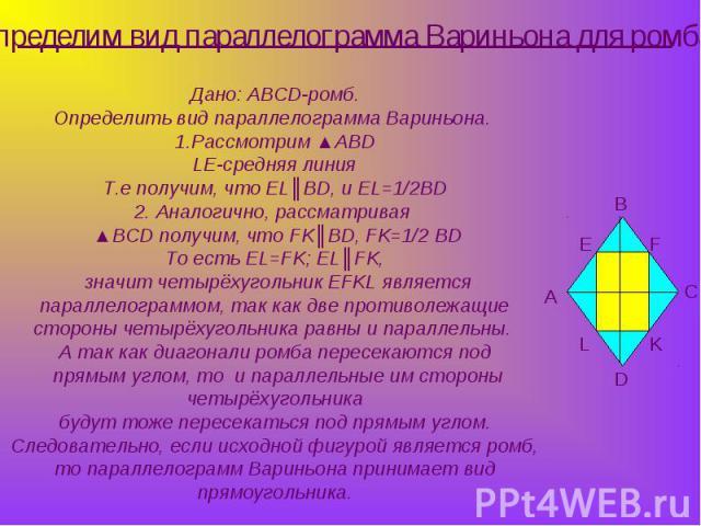 Определим вид параллелограмма Вариньона для ромба Дано: АBCD-ромб.Определить вид параллелограмма Вариньона. 1.Рассмотрим ▲ABDLE-средняя линияТ.е получим, что EL║BD, и EL=1/2BD2. Аналогично, рассматривая ▲BCD получим, что FK║BD, FK=1/2 BDТо есть EL=F…