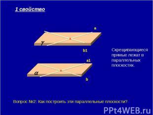 1 свойство Скрещивающиеся прямые лежат в параллельных плоскостях. Вопрос №2: Как