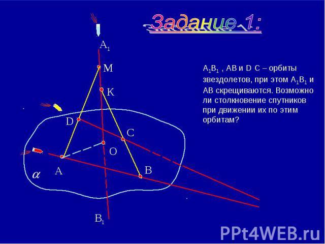 А1В1 , АВ и D С – орбиты звездолетов, при этом А1В1 и АВ скрещиваются. Возможно ли столкновение спутников при движении их по этим орбитам?