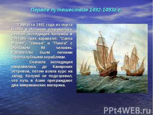 3 августа 1492 года из порта Палое в Испании отправилась первая экспедиция Колум