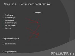 Задание 2 Установите соответствие ПроцессАнаболизм ;Ассимиляция;Катаболизм;Дисси