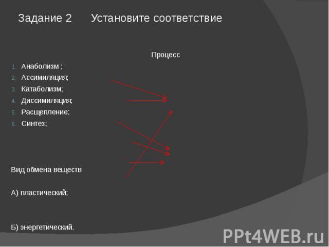Задание 2 Установите соответствие ПроцессАнаболизм ;Ассимиляция;Катаболизм;Диссимиляция;Расщепление;Синтез;Вид обмена веществА) пластический;Б) энергетический.