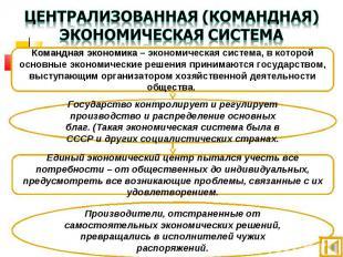 Централизованная (командная) экономическая система Командная экономика – экономи