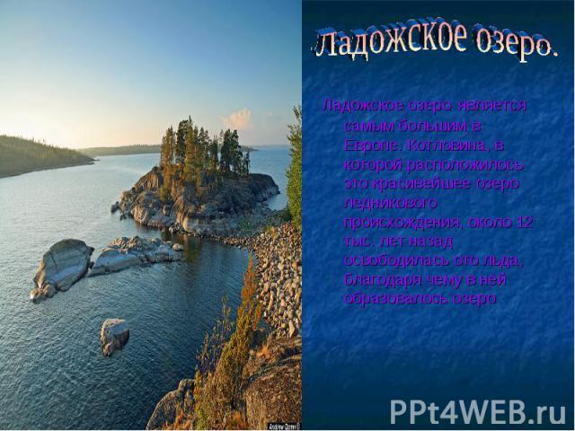 Ладожское озеро. Ладожское озеро является самым большим в Европе. Котловина, в которой расположилось это красивейшее озеро ледникового происхождения, около 12 тыс. лет назад освободилась ото льда, благодаря чему в ней образовалось озеро
