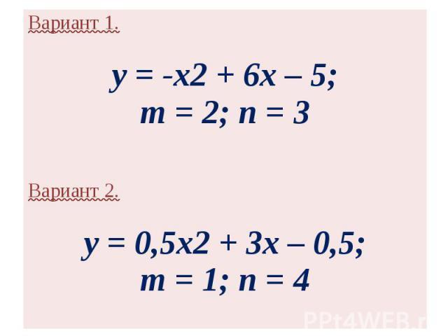 Вариант 1.y = -x2 + 6x – 5;m = 2; n = 3 Вариант 2.y = 0,5x2 + 3x – 0,5;m = 1; n = 4