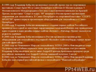 В 1999 году Владимир Бобылев организовал сноукайт-промо тур по спортивным выстав