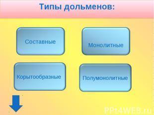 Типы дольменов: