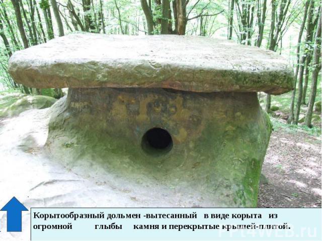 Корытообразный дольмен -вытесанный в виде корыта из огромной глыбы камня и перекрытые крышей-плитой.
