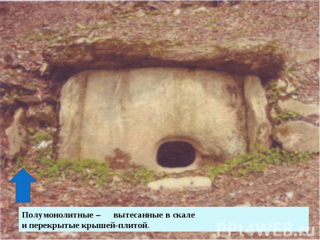 Полумонолитные – вытесанные в скале и перекрытые крышей-плитой.