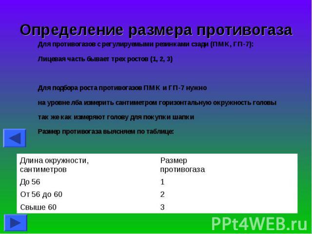 Определение размера противогаза Для противогазов с регулируемыми резинками сзади (ПМК, ГП-7):Лицевая часть бывает трех ростов (1, 2, 3)Для подбора роста противогазов ПМК и ГП-7 нужнона уровне лба измерить сантиметром горизонтальную окружность головы…