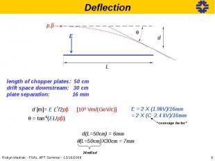 length of chopper plates: 50 cmdrift space downstream: 30 cmplate separation: 16