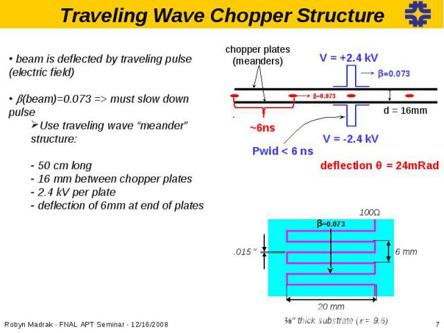 """beam is deflected by traveling pulse (electric field) b(beam)=0.073 => must slow down pulseUse traveling wave """"meander"""" structure: 50 cm long 16 mm between chopper plates 2.4 kV per plate deflection of 6mm at end of plates"""