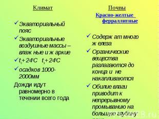 ПочвыПочвы Красно-желтые ферраллитныеСодержат много железаОрганические вещества