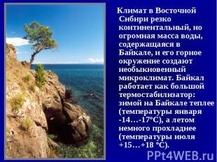 Климат в Восточной Сибири резко континентальный, но огромная масса воды, содержа