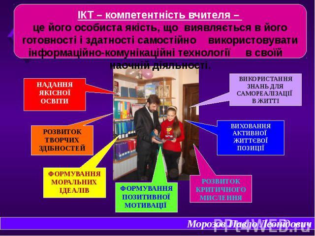 ІКТ – компетентність вчителя – це його особиста якість, що виявляється в його готовності і здатності самостійно використовувати інформаційно-комунікаційні технології в своїй наочній діяльності.