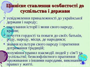 усвідомлення приналежності до української держави і народу; усвідомлення принале