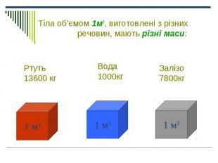 Тіла об'ємом 1м3, виготовлені з різних речовин, мають різні маси: Тіла об'ємом 1