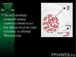 Після β-розпаду атомний номер елемента міняється і він зміщується на одну клітин