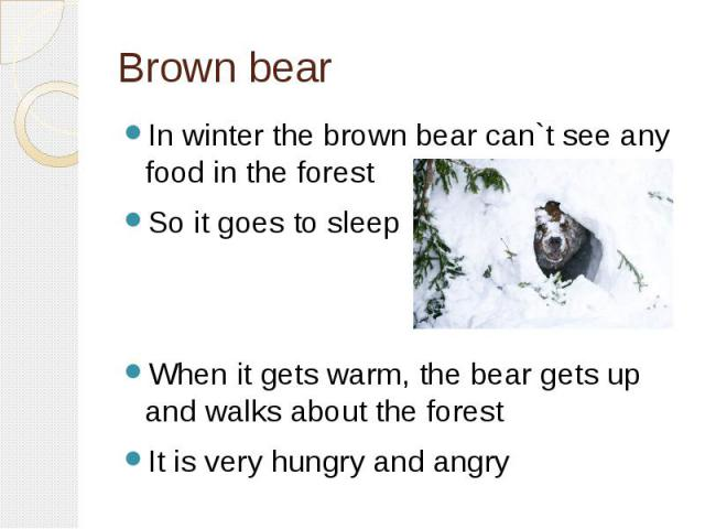 Brown bearIn winter the brown bear can`t see any food in the forestSo it goes to sleepWhen it gets warm, the bear gets up and walks about the forestIt is very hungry and angry