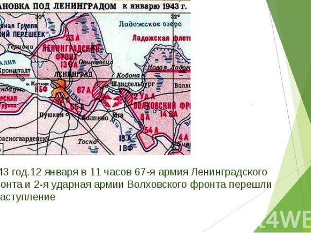 1943 год.12 января в 11 часов 67-я армия Ленинградского фронта и 2-я ударная армии Волховского фронта перешли в наступление 1943 год.12 января в 11 часов 67-я армия Ленинградского фронта и 2-я ударная армии Волховского фронта перешли в наступление