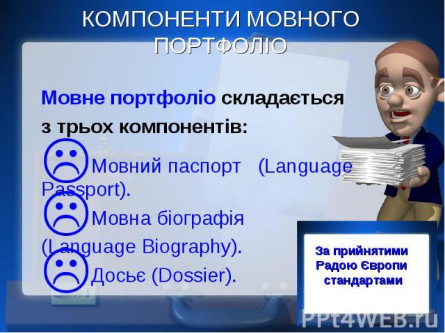 КОМПОНЕНТИ МОВНОГО ПОРТФОЛІО Мовне портфоліо складається з трьох компонентів: Мовний паспорт (Language Passport). Мовна біографія (Language Biography). Досьє (Dossier).